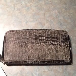 Topshop black cream leather wallet